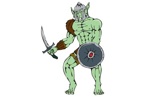 Orc Warrior Sword Shield Cartoon