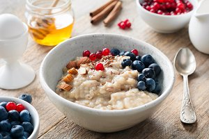 Healthy breakfast food oatmeal porri