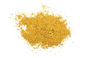 curry powder isolated on white background. Top view