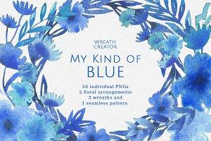 Blue Floral Watercolor Clipart