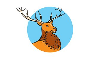 Red Stag Deer Head Circle Cartoon