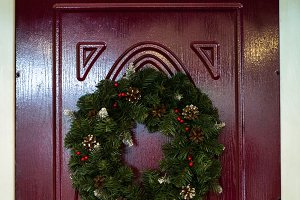 Christmas wreath on the door.