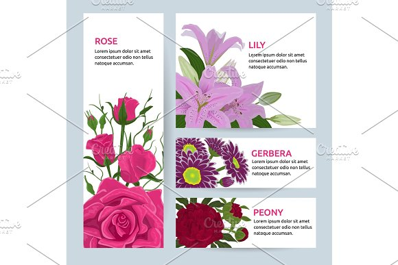 Floral Flower Card Invitation Vector Set Greeting Postcard With Flowering Bouquet Of Rose Lily Gerbera Peony Vintage Illustration Invite Isolated On White Background