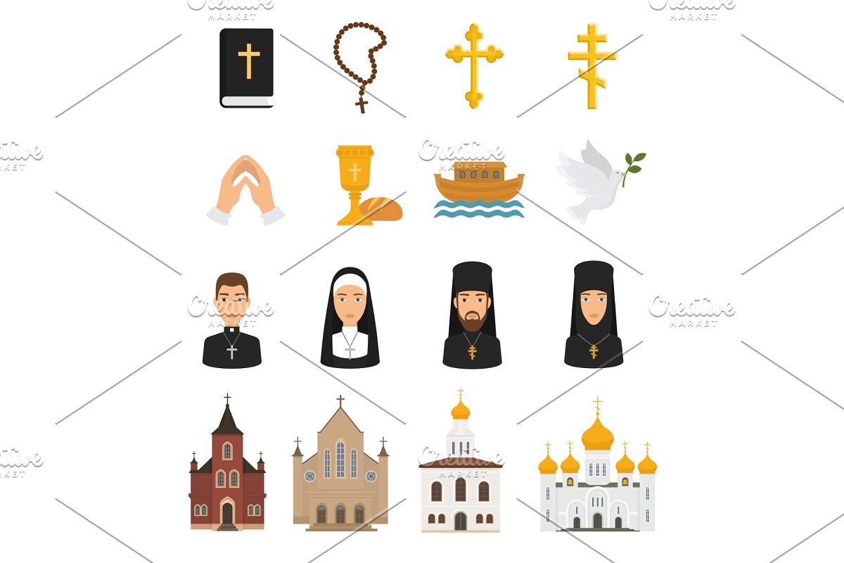 619ac88a6657b Christian icons vector christianity religion signs and religious ...
