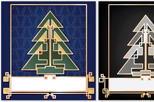 Christmas card art deco background