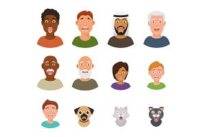 Scared people face vector frightened characters scary in panic and afraid nervous man, boy, cat and dog animals facial illustration isolated on white background