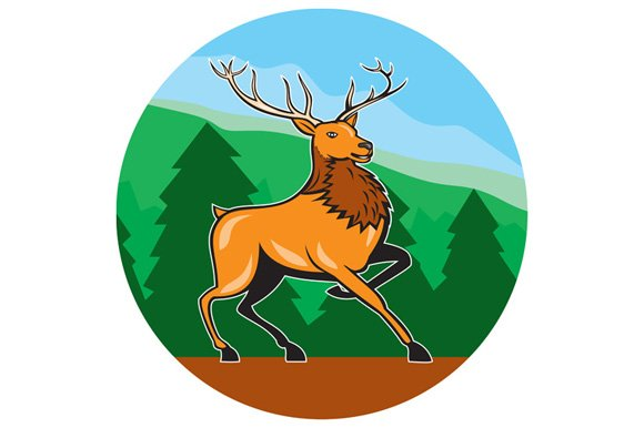 Red Stag Deer Side Marching Circle C