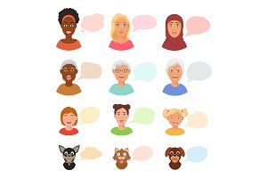 Scared people face with speech bubbles vector frightened woman or girl characters scary in panic and afraid nervous girl, woman, cat and dog animals facial illustration isolated on white background