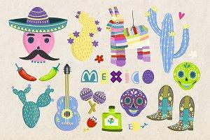 Mexican symbols set