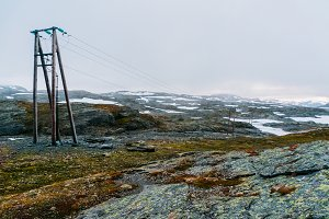 Power line in Norway landscape