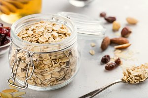 Ingredients for homemade oatmeal granola