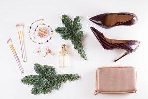 Fashion Christmas flat lay scene