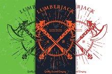 Crossed Axes Lumberjack Graphic Tee.