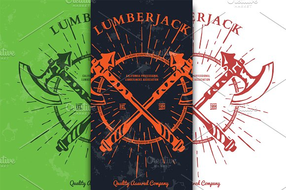Crossed Axes Lumberjack Graphic Tee. in Illustrations