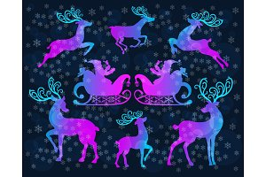 Reindeer Christmas icon set.