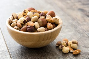 Assorted mixed nuts in a bowl
