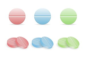 Set of colorful pills in round forms