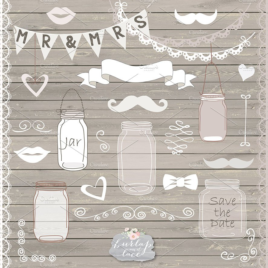 Rustic Mason Jar Country Wedding Illustrations Creative Market