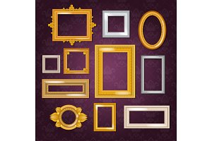 Frames vector blank picture framing in vintage set of gold framework on wall illustration isolated on white background
