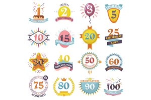 Anniversary badges vector birthday numbers emblems holiday set festive celebration birth age letter with ribbons illustration isolated on white background