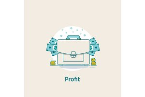 Profit concept.Template investment. Vector illustration flat design.