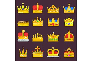 Crown vector golden royal jewelry set symbol of king queen princess crowning prince authority crown jewele isolated illustration