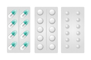 Set of realistic pills in blister pack.