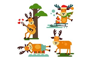 Christmas cute reindeer Santa Claus character vector New Year illustration of deer animal for sleigh