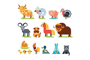 Farm animals vector domestic farming characters cow and sheep, pig, turkey, dog, horse and cat farmer animals set illustration isolated on white background