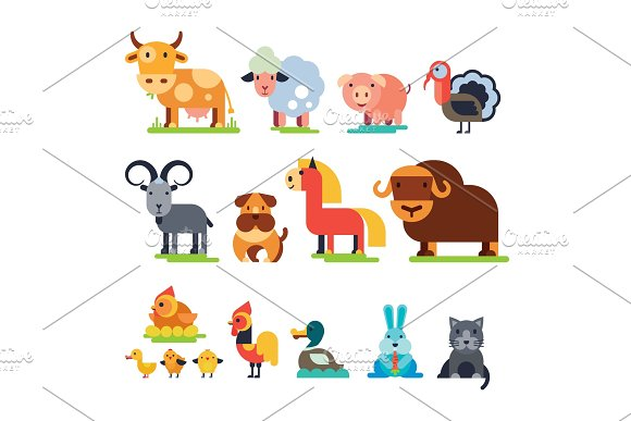 Farm Animals Vector Domestic Farming Characters Cow And Sheep Pig Turkey Dog Horse And Cat Farmer Animals Set Illustration Isolated On White Background