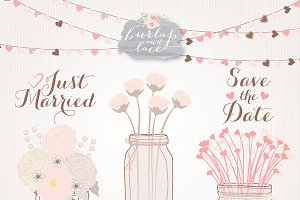 Mason jar wedding rose blush