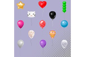 Balloons vector in air happy Birthday gift collection of colorful 3d realistic balloons gel balls animals face set illustration
