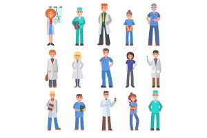 Doctors vector people different doctoral profession specialization nurses and medical staff people hospital doc character illustration