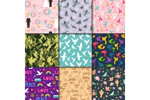 Dove birds vector seamless pattern different style birdie illustration of cartoon flying dovey animal silhouette dovecote background.
