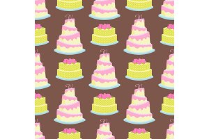 Wedding cake pie sweets dessert bakery flat simple style seamless pattern background baked food vector illustration.