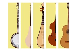 Stringed dreamed musical instruments cards classical orchestra art sound tool and acoustic symphony fiddle wooden equipment vector illustration