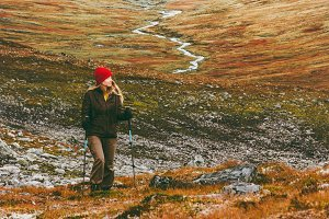 Woman hiking scandinavian mountains