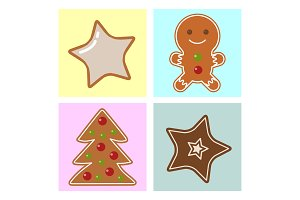Set of traditional christmas food and desserts holiday decoration xmas sweet celebration dessert vector illustration.