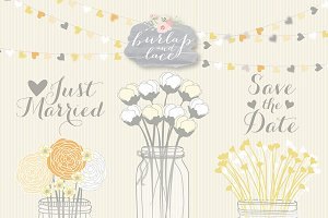 Mason jar wedding yellow/grey