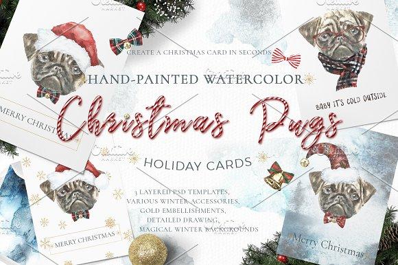 Christmas Watercolor Pug Cards