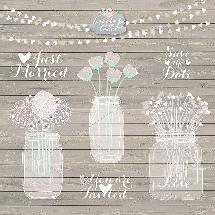 Rustic mason jar clipart ~ Illustrations ~ Creative Market