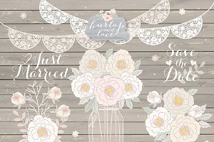 Peonies Wedding mason jar clipart
