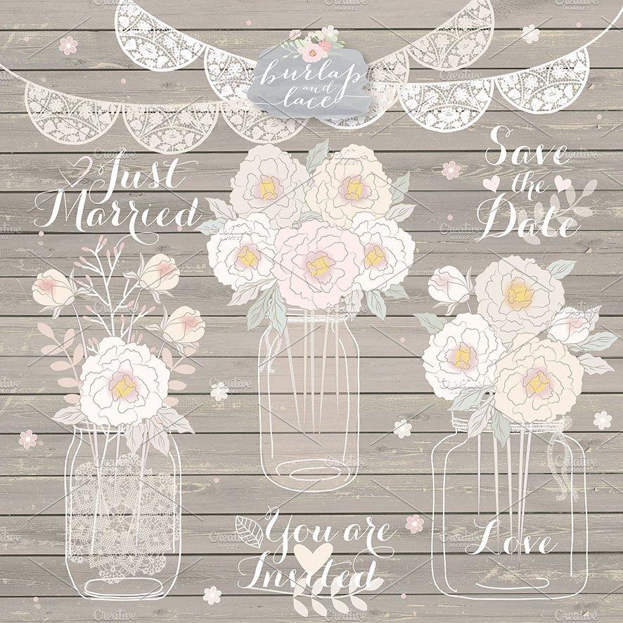 Peonies Wedding Mason Jar Clipart Illustrations Creative Market