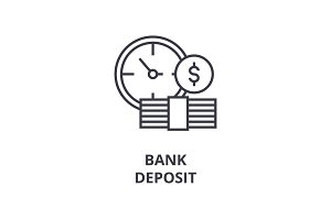 bank deposit line icon, outline sign, banking linear symbol, vector, deposit flat illustration