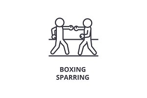 boxing sparring line icon, outline sign, linear symbol, vector, flat illustration