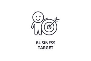 business target line icon, outline sign, linear symbol, vector, flat illustration