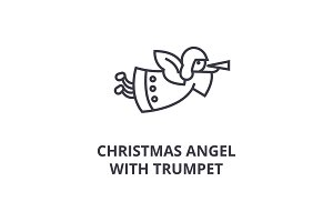 christmas angel with trumpet line icon, outline sign, linear symbol, vector, flat illustration