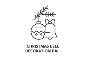 christmas bell, decoration ball line icon, outline sign, linear symbol, vector, flat illustration