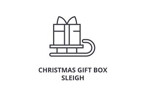 christmas gift box sleigh line icon, outline sign, linear symbol, vector, flat illustration