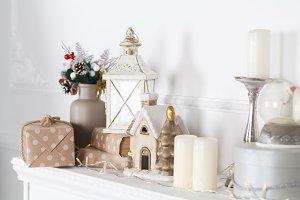 Christmas with garland, lights